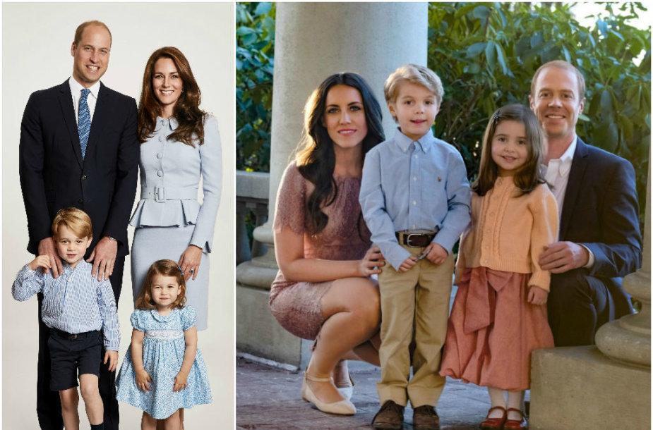 Princas Williamas ir Kembridžo hercogienė Catherine su vaikais bei juos filme vaidinsiantys aktoriai
