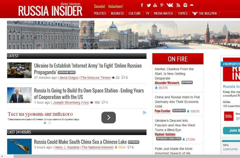 "Tinklalapis ""Russia Insider"""