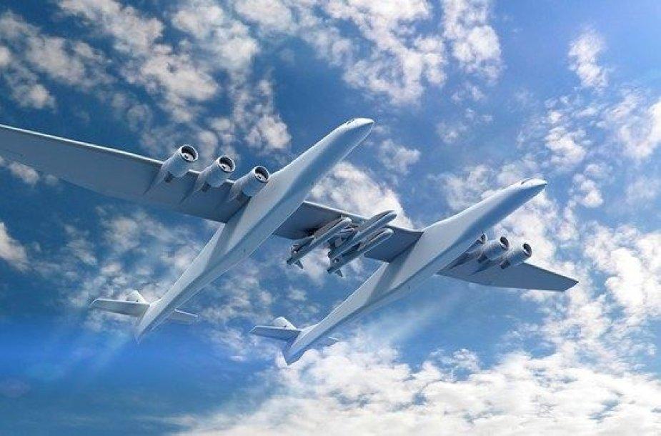 """""""Stratolaunch"""" varomas šešiais, """"Boeing 747"""" naudojamais Pratt & Whitney varikliais"""