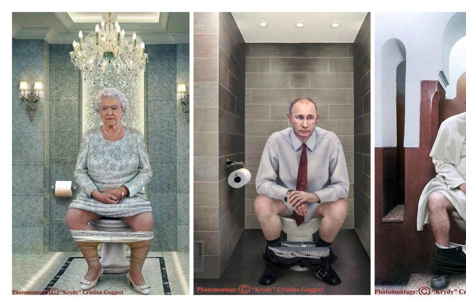 Italų fotografė Cristina Guggeri pavaizdavo ant klozeto sėdinčius pasaulio lyderius