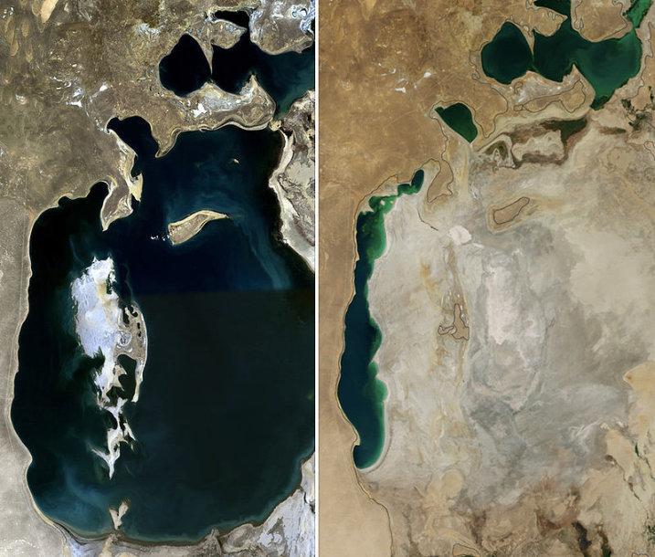 Aralo jūra 1989 ir 2014 m.