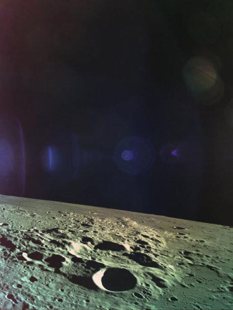 """Viena iš paskutinių zondo """"Beresheet"""" nuotraukų, persiųsta prieš sudūžtant ant Mėnulio paviršiaus"""