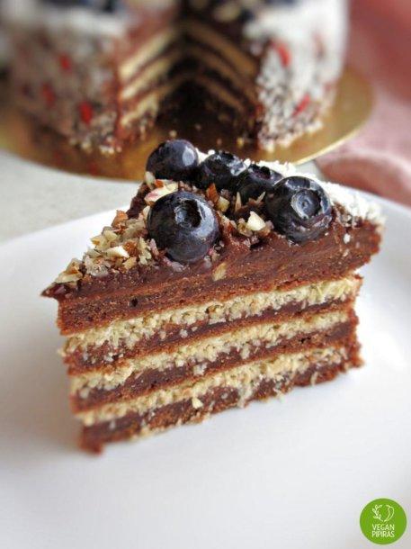Veganiškas kakavinis-kokosinis tortas be cukraus