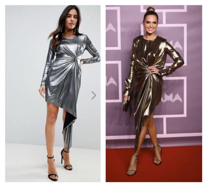 ASOS parduotuvės suknelės modelis (kairėje) ir Asta Valentaitė
