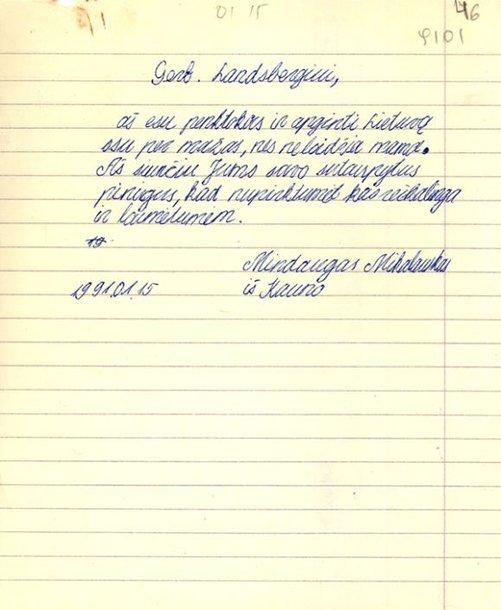 Mindaugo Mikalausko laiškas Vytautui Landsbergiui
