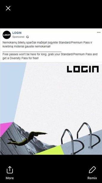 Tokia žinutė pasirodė LOGIN feisbuko profilyje.