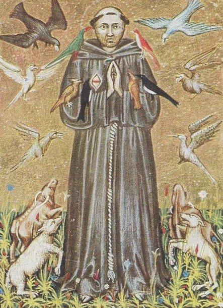 Šv. Pranciškus Asyžietis (XIV a. miniatiūra. Nacionalinės bibliotekos Romoje fondai)