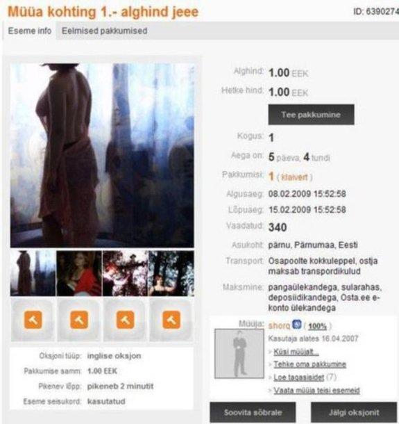 Pasimatymo aukciono pirmoji kaina – 1 krona
