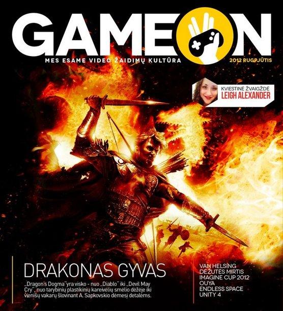 """Pirmojo lietuviško e. žurnalo """"GameON"""" viršelis."""