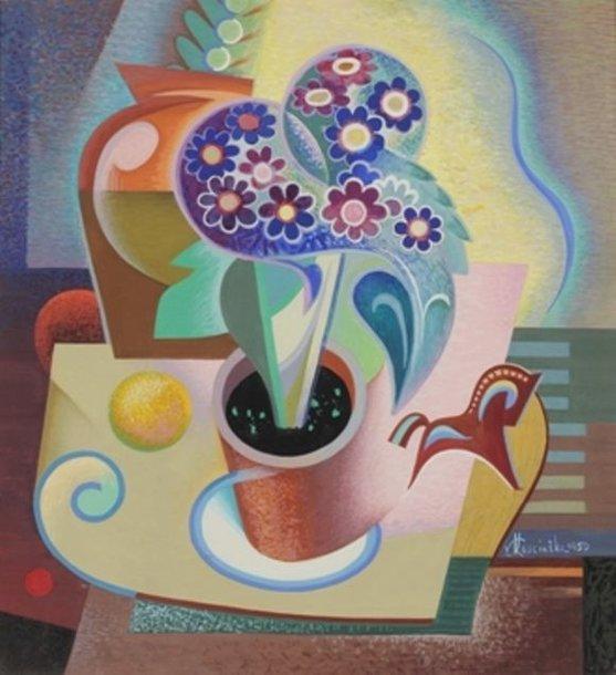 """V.Kosciuška  """"Natiurmortas su gėlių vaza ir arkliuku"""", 1959 m."""