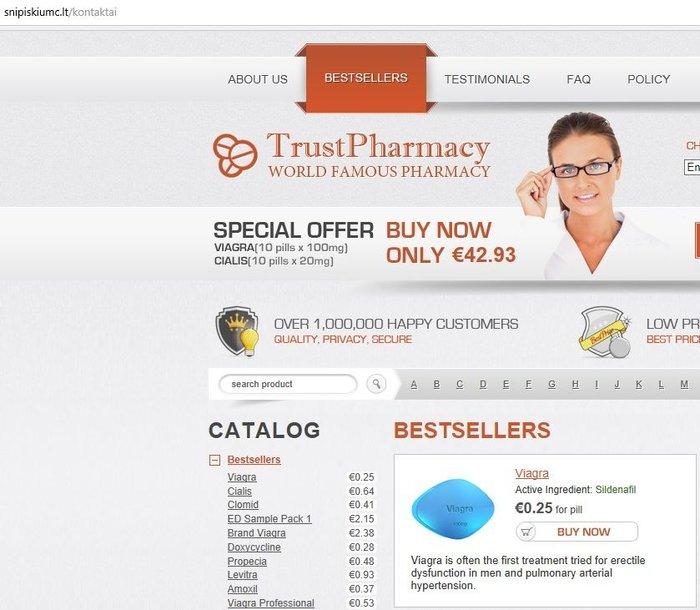 Svetainės adresas – tarsi tikros svetainės, bet turinys yra nepatikimų farmacijos produktų reklamos