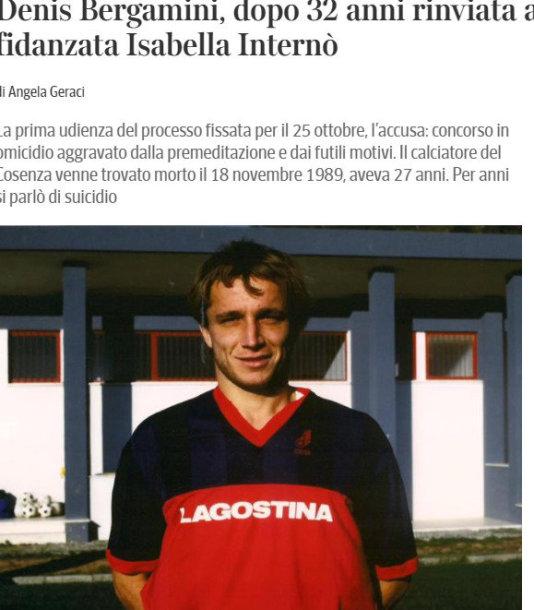 """""""Corriere della Sera"""" rašo, kad Donato Bergamini galėjo būti nužudytas."""