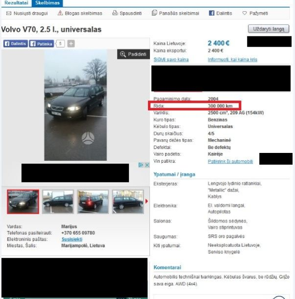 "Parduodamas ""Volvo V70"" su atsukta rida"