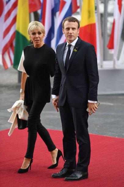 Prancūzijos prezidentas Emmanuelis Macronas su žmona Brigitte Trogneux