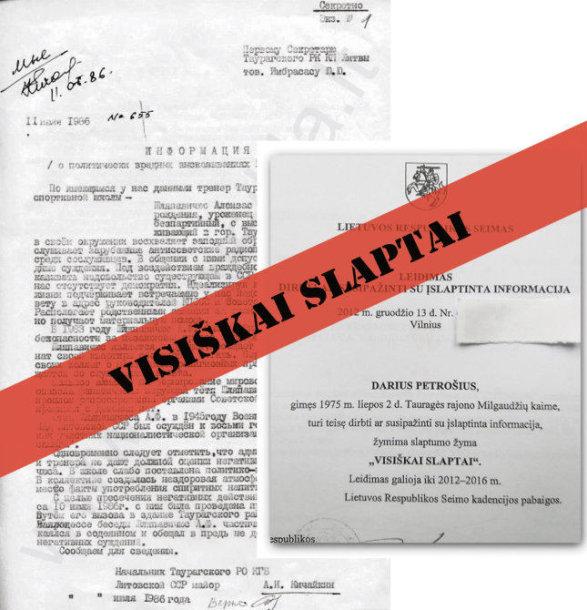 """KGB pažyma su grifu """"Visiškai slaptai"""", kurią pasirašė A.Kičaikinas. Dariaus Petrošiaus paviešintas leidimas dirbti su informacija, pažymėta """"Visiškai slaptai"""" tyli"""