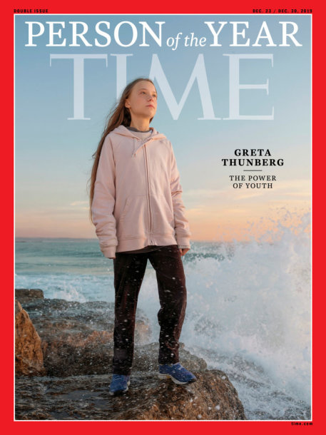 "Greta Thunberg ant ""Time""  viršelio"