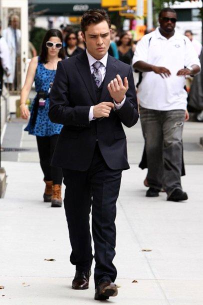 """Edas Westwickas """"Gossip Girl"""" filmavimo aikštelėje (2010 m.)"""